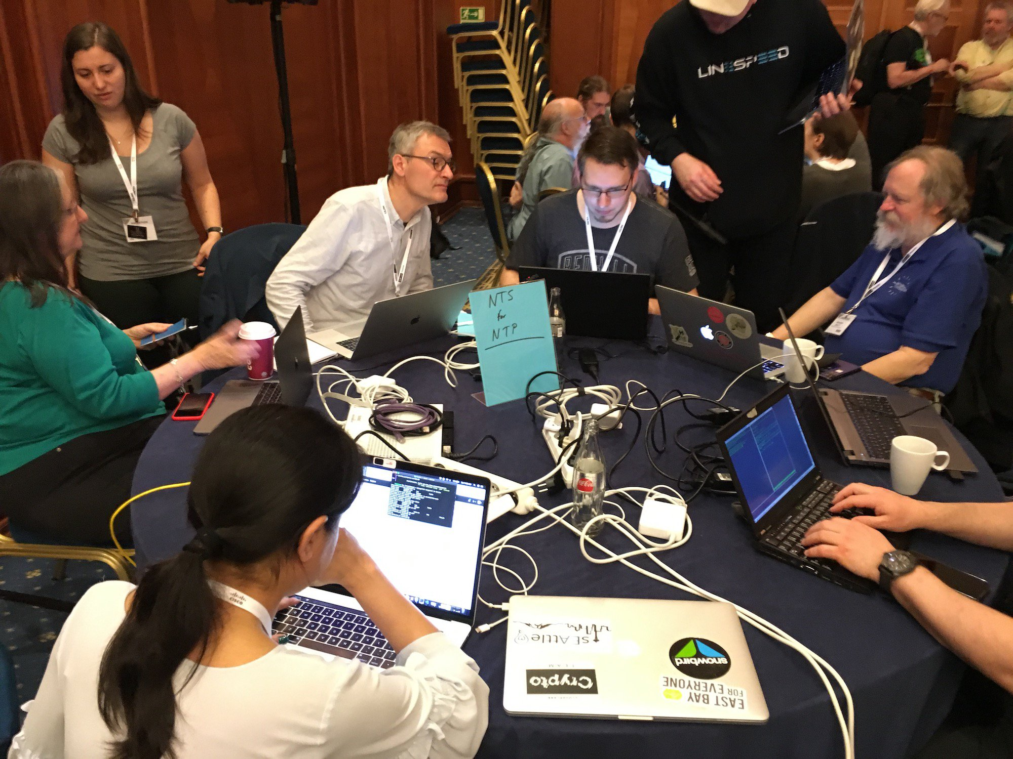 NTS project table at IETF Hackathon in Prague