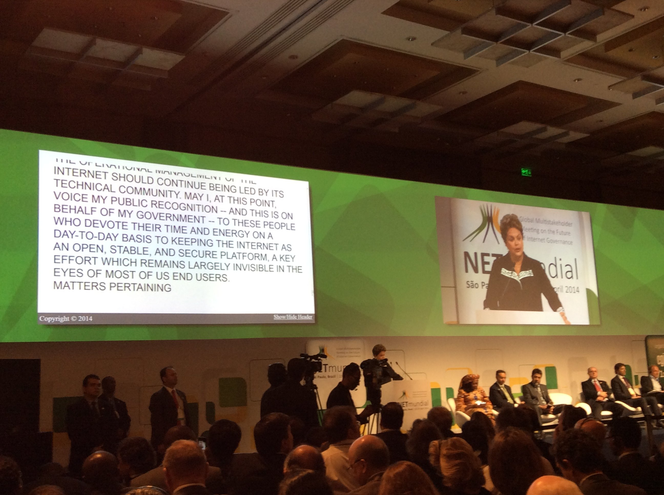 Brazilian President Dilma Rousseff addresses the NETmundial conference.