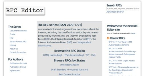 RFC Editor Website screenshot