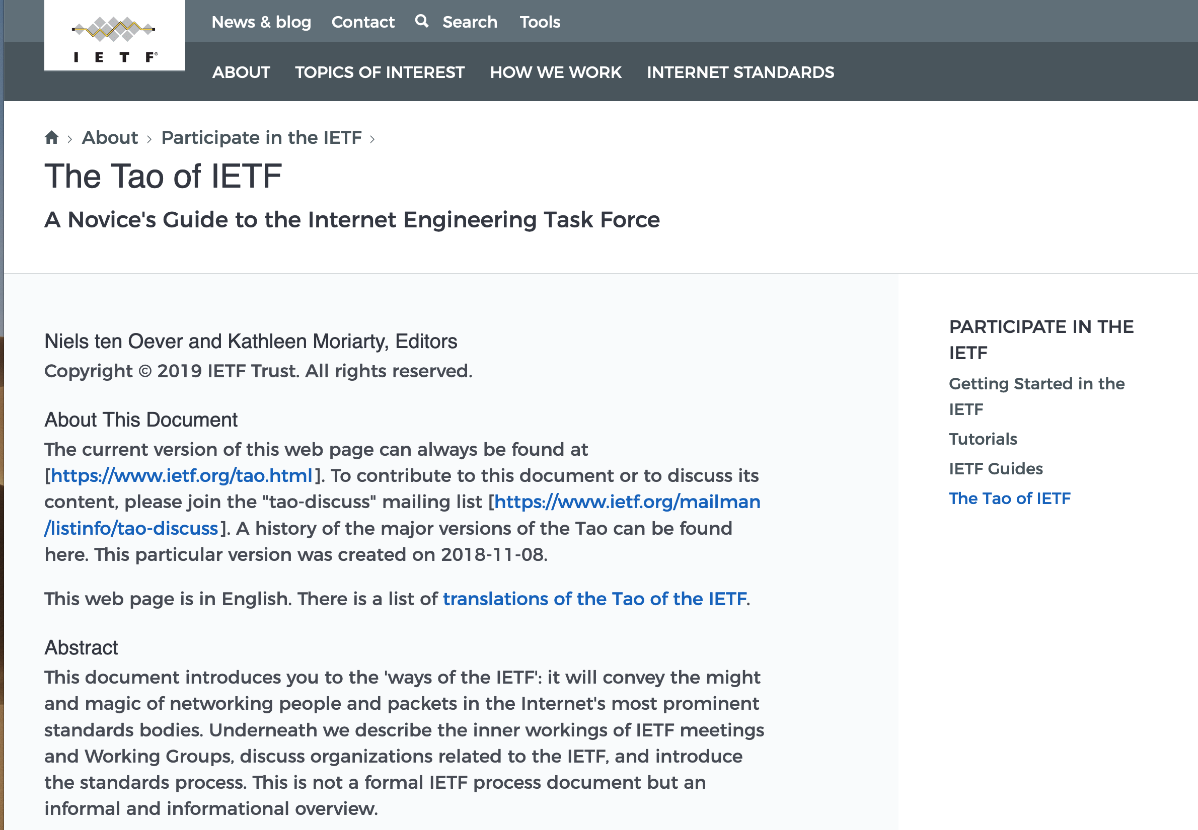 Screenshot of the New Tao of the IETF