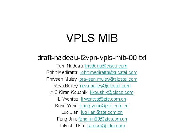 VPLS MIB